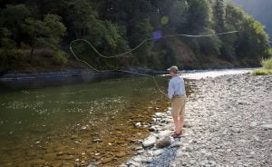 Fly Fishing from the banks of the Rogue River