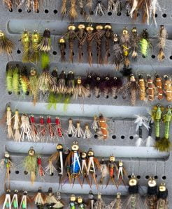 Wet fly nymph fly fishing flies in a box.