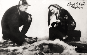 Lloyd and Ruth Morrison ice fishing